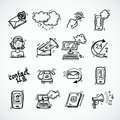 Contact us icons sketch phone customer service user support isolated vector illustration Stock Photography