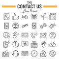 Contact us line icon set, web button signs Royalty Free Stock Photo