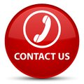 Contact us (phone icon) special red round button Royalty Free Stock Photo