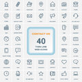 Contact Us - Set Of Thin Line Web Icons Isolated On A Background. Icon Set.