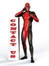 Contact us superhero helpline at help desk Stock Photo