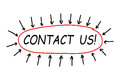 Contact us text with a circle and some arrows on white background showing Stock Photo