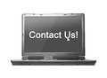 Contact us text on laptop screen showing Stock Photography