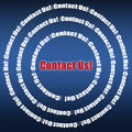 Contact us text with a lot of around it with blue background showing Stock Photo