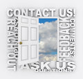 Contact us word door customer support service an open with the words feedback comments opinions reviews and other words related to Stock Photo