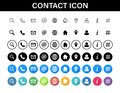 Contacts icon set. Collection social media or communication symbols. Contact, e-mail, mobile phone, message. Vector