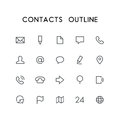 Contacts outline icon set Royalty Free Stock Photo