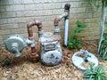 Contador del agua oxidado Fotografía de archivo libre de regalías