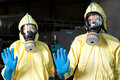 Contagion two health workers warn of ebola Royalty Free Stock Images
