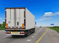 Container on the big highway. Royalty Free Stock Photo