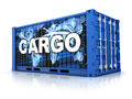 Container blue cargo on white background done in d Royalty Free Stock Photo