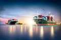 Container Cargo ship with ports crane bridge in harbor and Cargo plane for logistic import export background Royalty Free Stock Photo