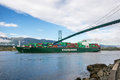 Container carrier vancouver canada april evergreen passes burrard inlet on april evergreen line operates transpacific services Royalty Free Stock Image
