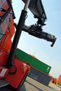 Container and forklift Stock Photos