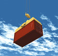 Container hoisted by a crane Royalty Free Stock Photos