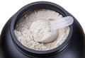 Container of milk whey protein close up Royalty Free Stock Images