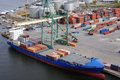 Container-port from helicopter Royalty Free Stock Photo