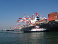 Container ship berthing qingdao port Royalty Free Stock Photography