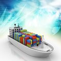Container ship digital illustration of Royalty Free Stock Photos