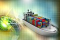 Container ship digital illustration of Stock Image