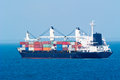 Container ship a loaded in the ocean off mozambique Royalty Free Stock Images