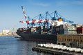 Container ship in port Royalty Free Stock Photo