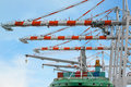Container Ship in terminal working with shore crane at dock Royalty Free Stock Photo