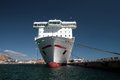 Container ship tied up in the port of alicante Stock Photos