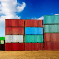 Container stack of cargo containers at the docks Royalty Free Stock Photography