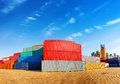 Container stack of cargo containers at the docks Stock Photo