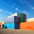 Container stack of cargo containers at the docks Royalty Free Stock Image