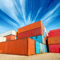 Container stack of cargo containers at the docks Royalty Free Stock Photos