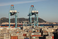 Container terminal in algeciras spain andalusia Royalty Free Stock Photos