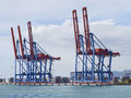 Container terminal with gantry cranes at malaga sea port Stock Images