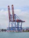 Container terminal with gantry cranes at malaga sea port vertical Royalty Free Stock Image