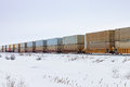 Container Train in Prairie Winter Royalty Free Stock Photo