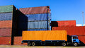 Container and Truck in the Port Royalty Free Stock Photo