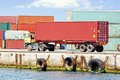 Container truck tuck at sea port Royalty Free Stock Image