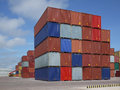 Container yard colorful background and blue sky amazonia brazil Stock Image