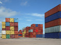 Container yard colorful background and blue sky amazonia brazil Royalty Free Stock Photography