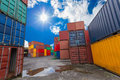 Containers box to transport goods in the warehouse Royalty Free Stock Image