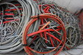 Containers full of many electrical cables and copper cables huge Royalty Free Stock Image