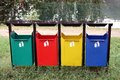 Containers for separate waste collection in the park Royalty Free Stock Photos