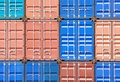 Containers shipping industrial landscape of in container yard Stock Photos