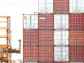 Containers shipping industrial view of freight background Royalty Free Stock Photo