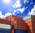 Containers shipping in yard with blue sky Stock Photography