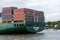 Containership in port of hamburg container ship Stock Photo