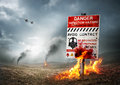 Contaminated land zombie breakout with warning sign Stock Image