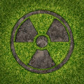 Contaminated soil concept with a green grass and the radio active symbol embossed in the ground exposing the poisoned earth as an Stock Photo