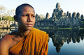 Contemplating Monk Angkor Wat Siam Reap Cambodia Concept Royalty Free Stock Photo